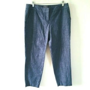 Express Chambray Denim Columnist Capri Pants 8